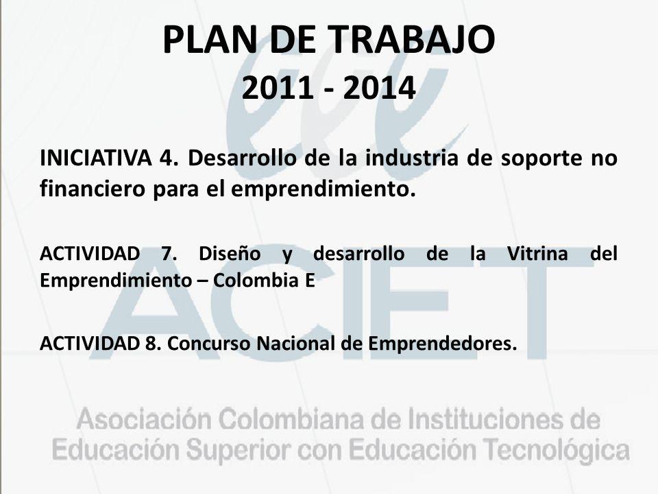 PLAN DE TRABAJO 2011 - 2014 INICIATIVA 4. Desarrollo de la industria de soporte no financiero para el emprendimiento.