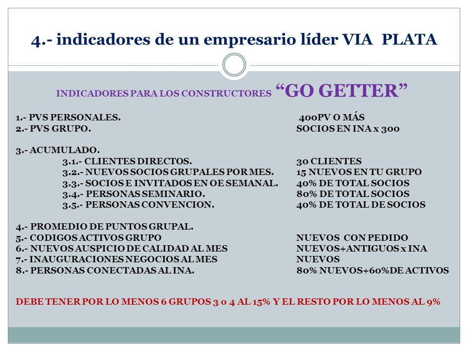 4.- indicadores de un empresario líder VIA PLATA