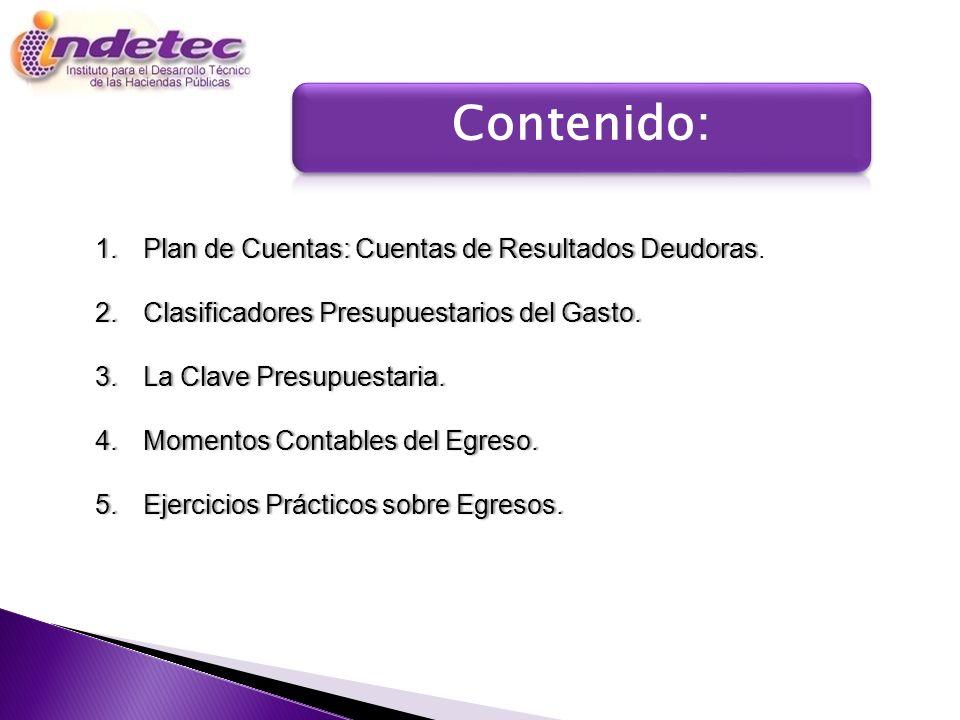 Contenido: Programa Plan de Cuentas: Cuentas de Resultados Deudoras.