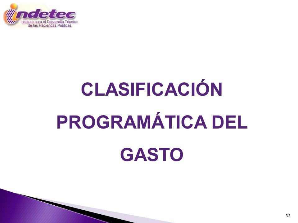 CLASIFICACIÓN PROGRAMÁTICA DEL GASTO