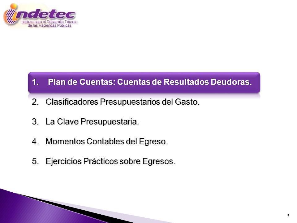 1. Plan de Cuentas: Cuentas de Resultados Deudoras.