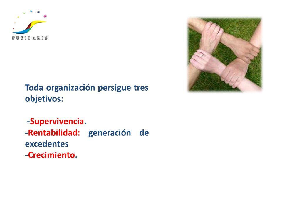 Toda organización persigue tres objetivos:
