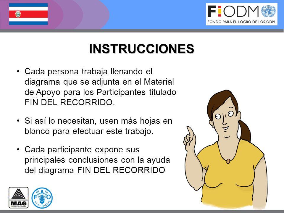 INSTRUCCIONES Cada persona trabaja llenando el diagrama que se adjunta en el Material de Apoyo para los Participantes titulado FIN DEL RECORRIDO.