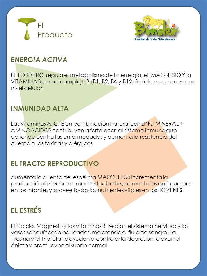 El Producto ENERGIA ACTIVA INMUNIDAD ALTA EL TRACTO REPRODUCTIVO