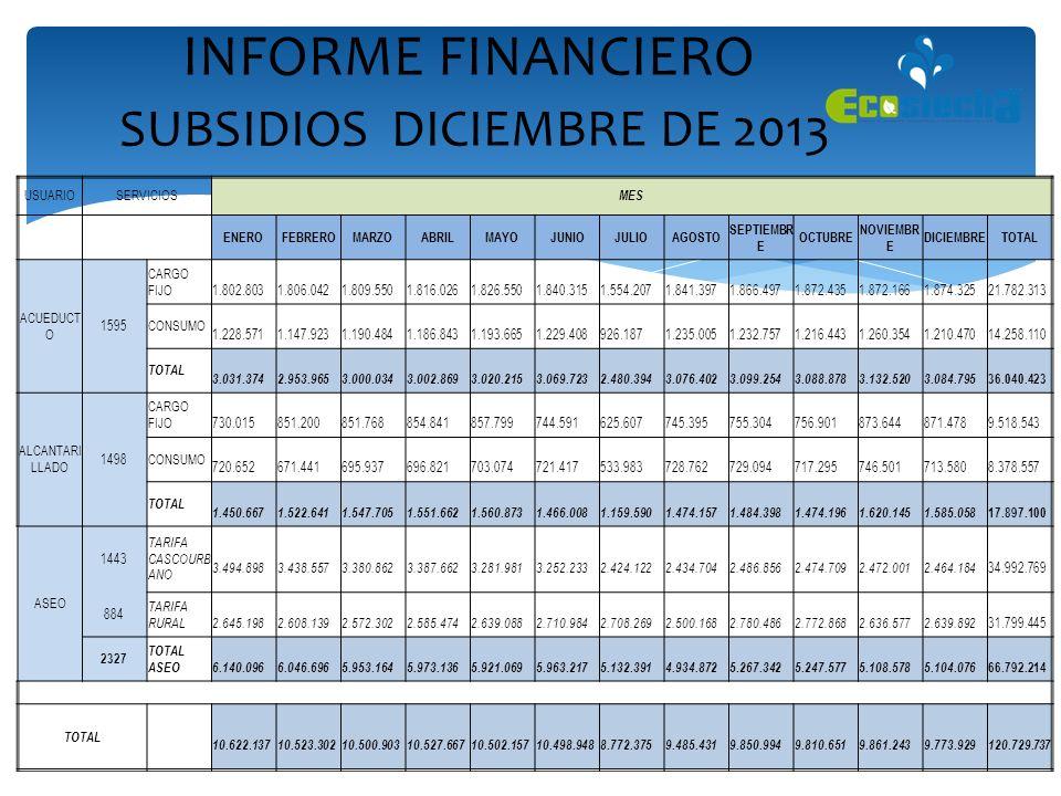INFORME FINANCIERO SUBSIDIOS DICIEMBRE DE 2013