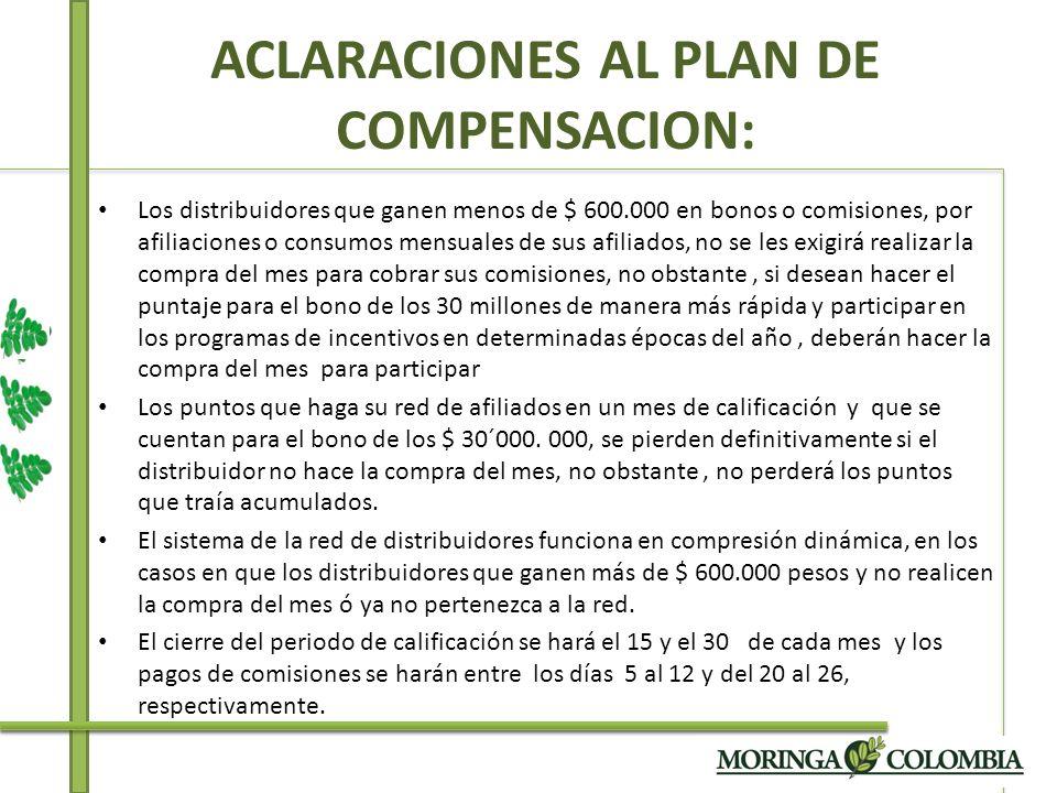 ACLARACIONES AL PLAN DE COMPENSACION: