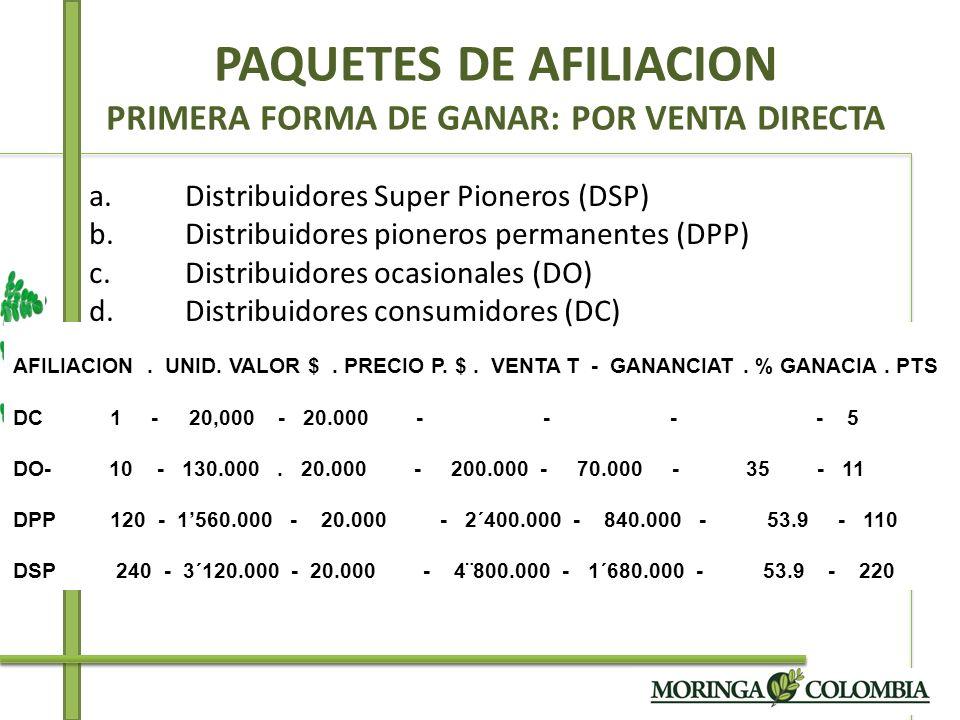 PAQUETES DE AFILIACION PRIMERA FORMA DE GANAR: POR VENTA DIRECTA