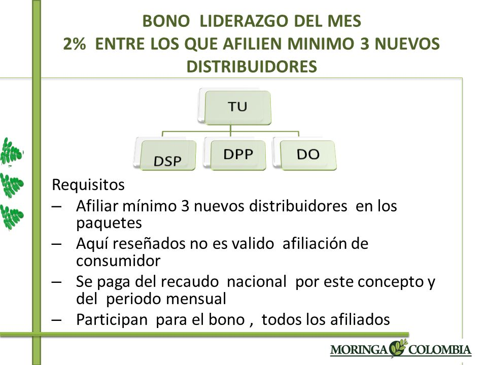 BONO LIDERAZGO DEL MES 2% ENTRE LOS QUE AFILIEN MINIMO 3 NUEVOS DISTRIBUIDORES