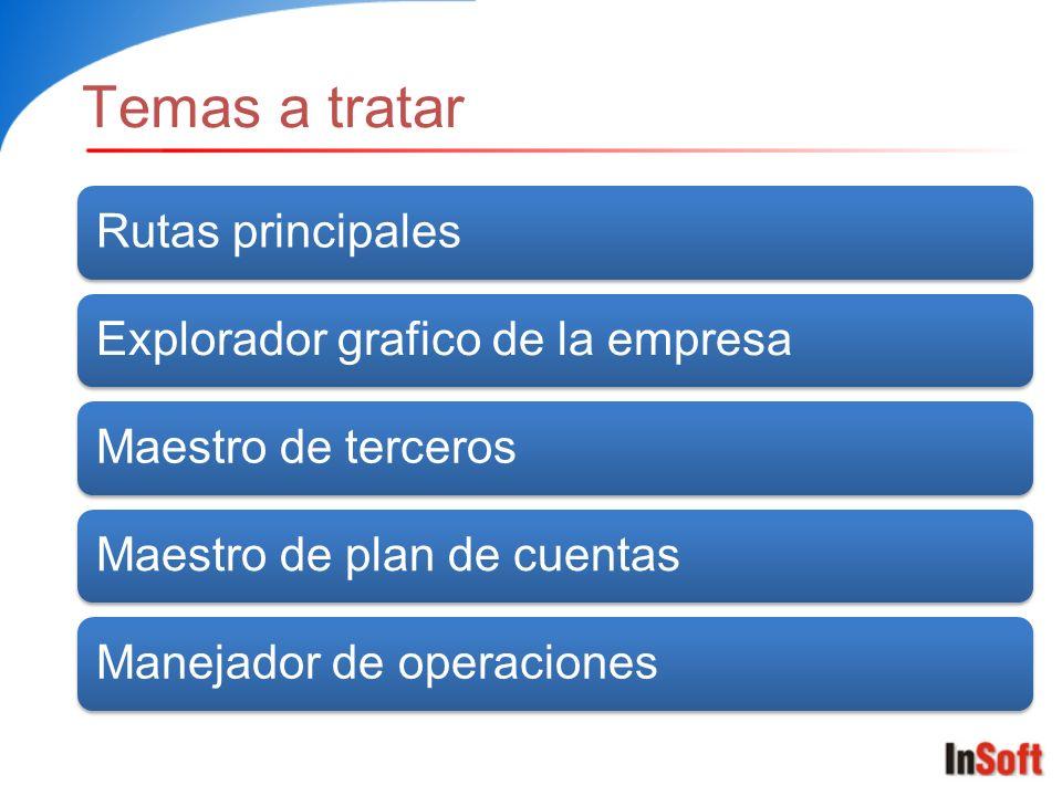 Temas a tratar Rutas principales Explorador grafico de la empresa