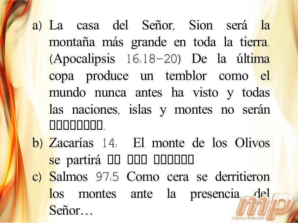 La casa del Señor, Sion será la montaña más grande en toda la tierra