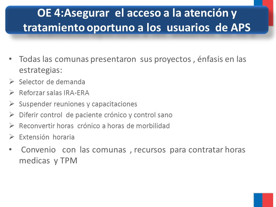 OE 4:Asegurar el acceso a la atención y tratamiento oportuno a los usuarios de APS
