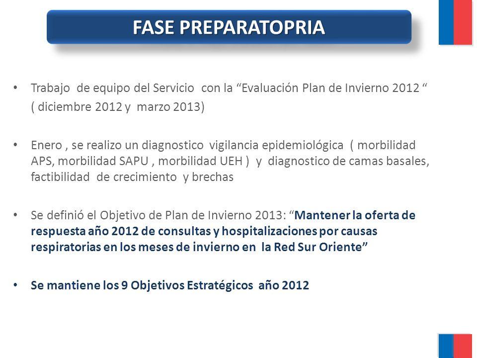 FASE PREPARATOPRIA Trabajo de equipo del Servicio con la Evaluación Plan de Invierno 2012 ( diciembre 2012 y marzo 2013)