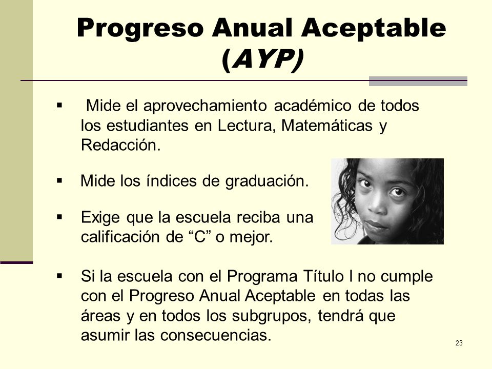 Progreso Anual Aceptable