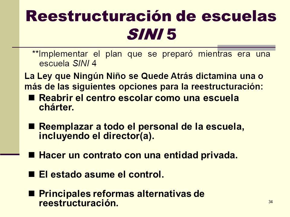 Reestructuración de escuelas SINI 5