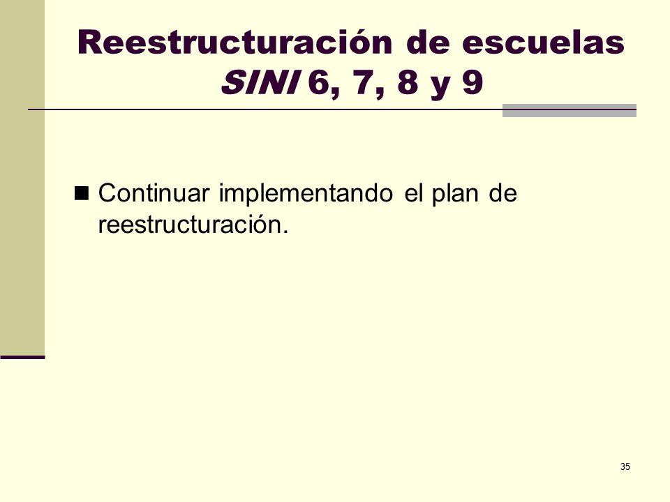Reestructuración de escuelas SINI 6, 7, 8 y 9