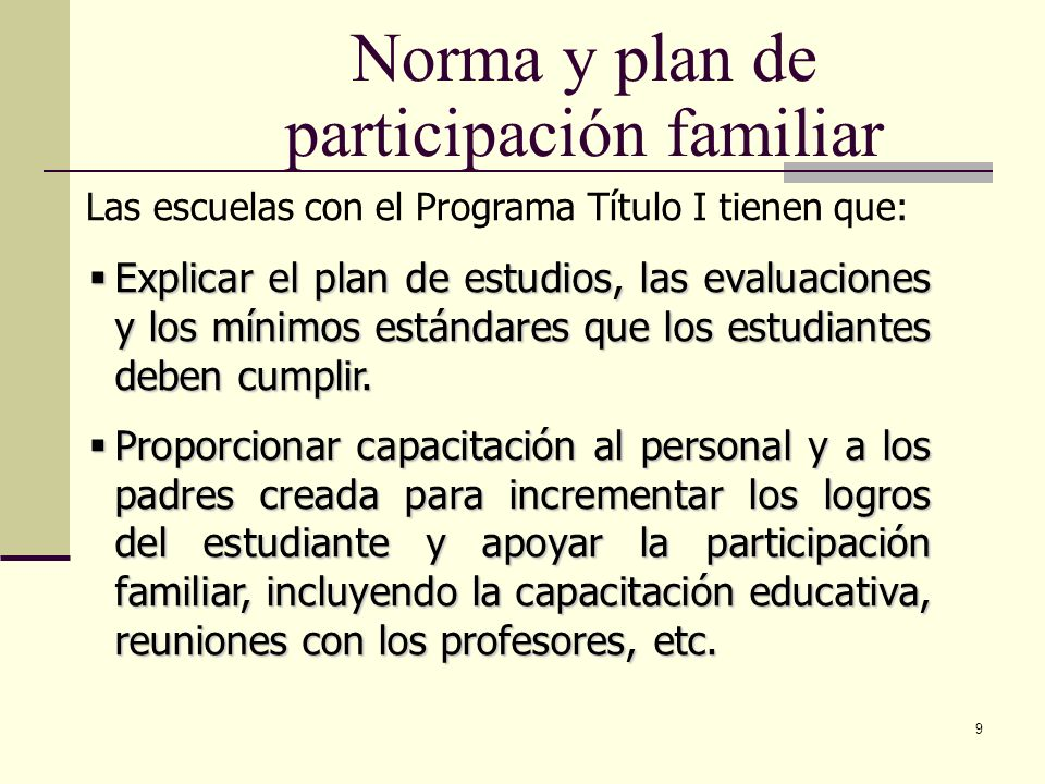 Norma y plan de participación familiar