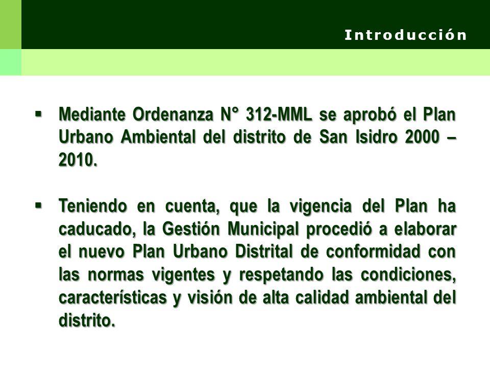 Introducción Mediante Ordenanza N° 312-MML se aprobó el Plan Urbano Ambiental del distrito de San Isidro 2000 – 2010.