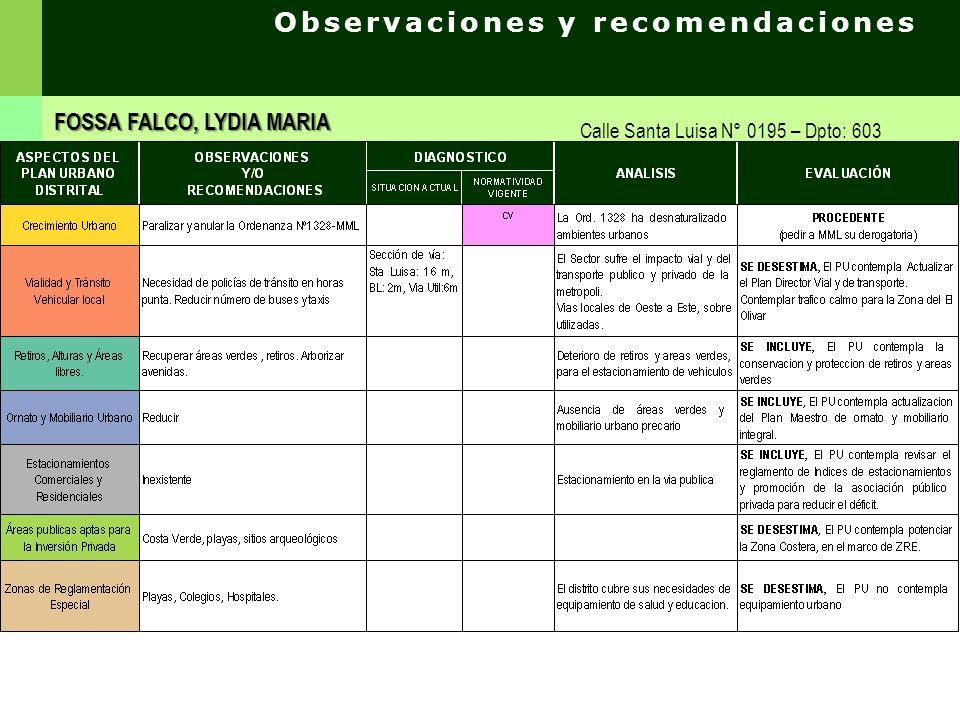 Observaciones y recomendaciones