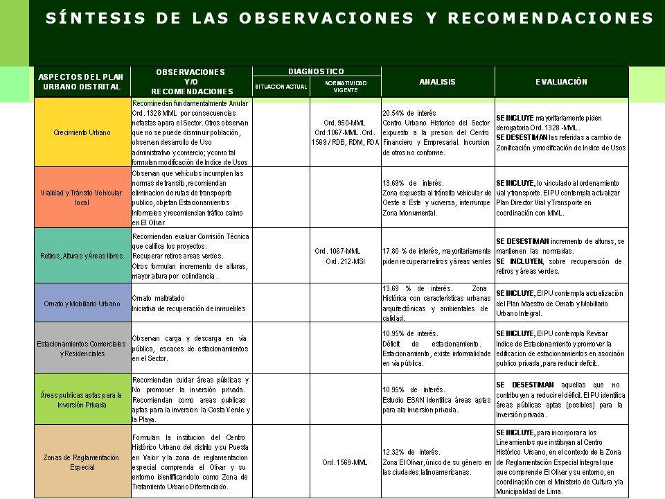 SÍNTESIS DE LAS OBSERVACIONES Y RECOMENDACIONES
