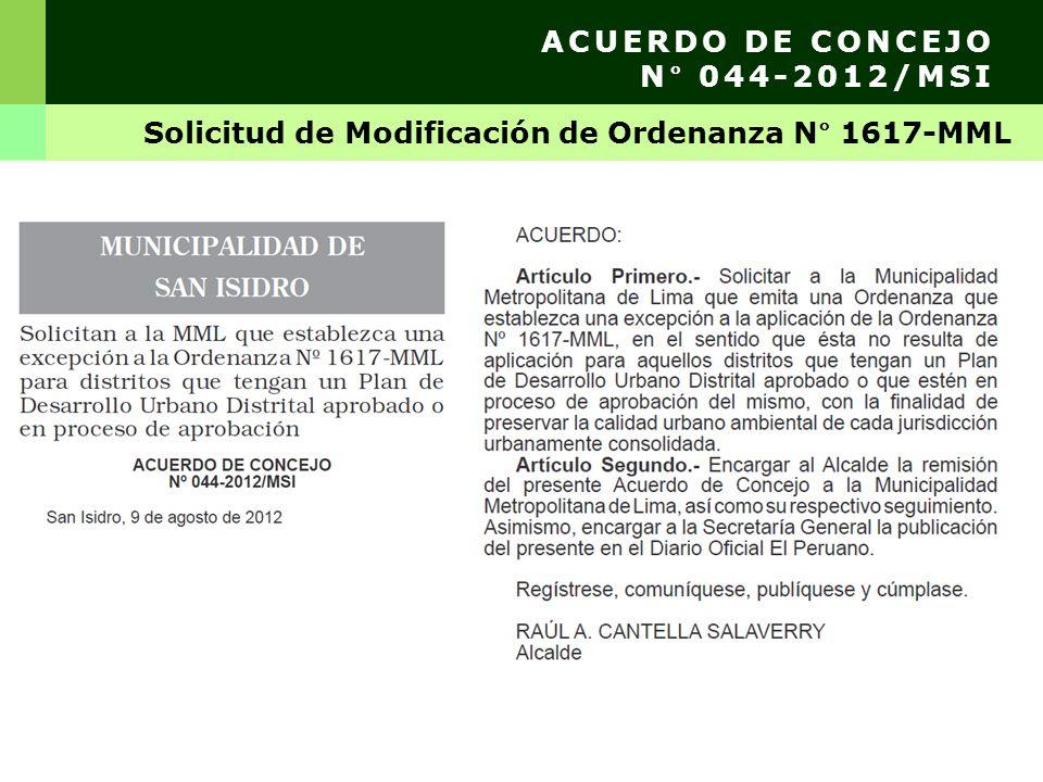 ACUERDO DE CONCEJO N° 044-2012/MSI Solicitud de Modificación de Ordenanza N° 1617-MML