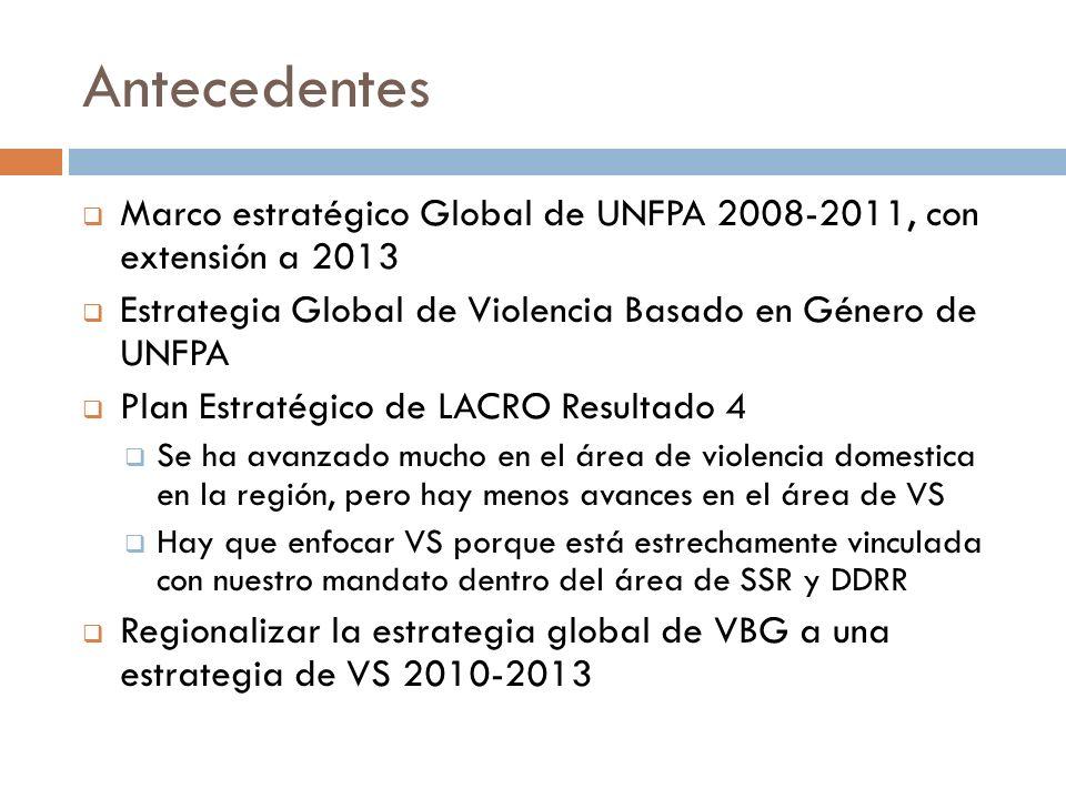 Antecedentes Marco estratégico Global de UNFPA 2008-2011, con extensión a 2013. Estrategia Global de Violencia Basado en Género de UNFPA.