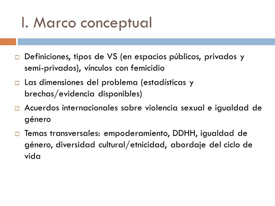 I. Marco conceptual Definiciones, tipos de VS (en espacios públicos, privados y semi-privados), vínculos con femicidio.