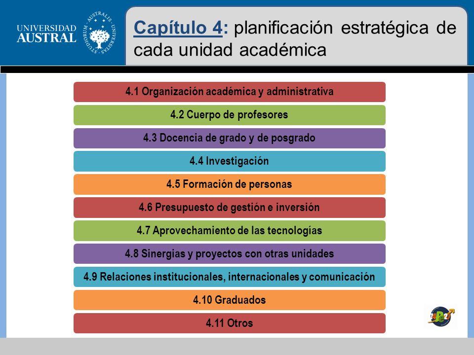 Capítulo 4: planificación estratégica de cada unidad académica