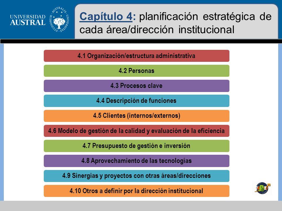 Capítulo 4: planificación estratégica de cada área/dirección institucional
