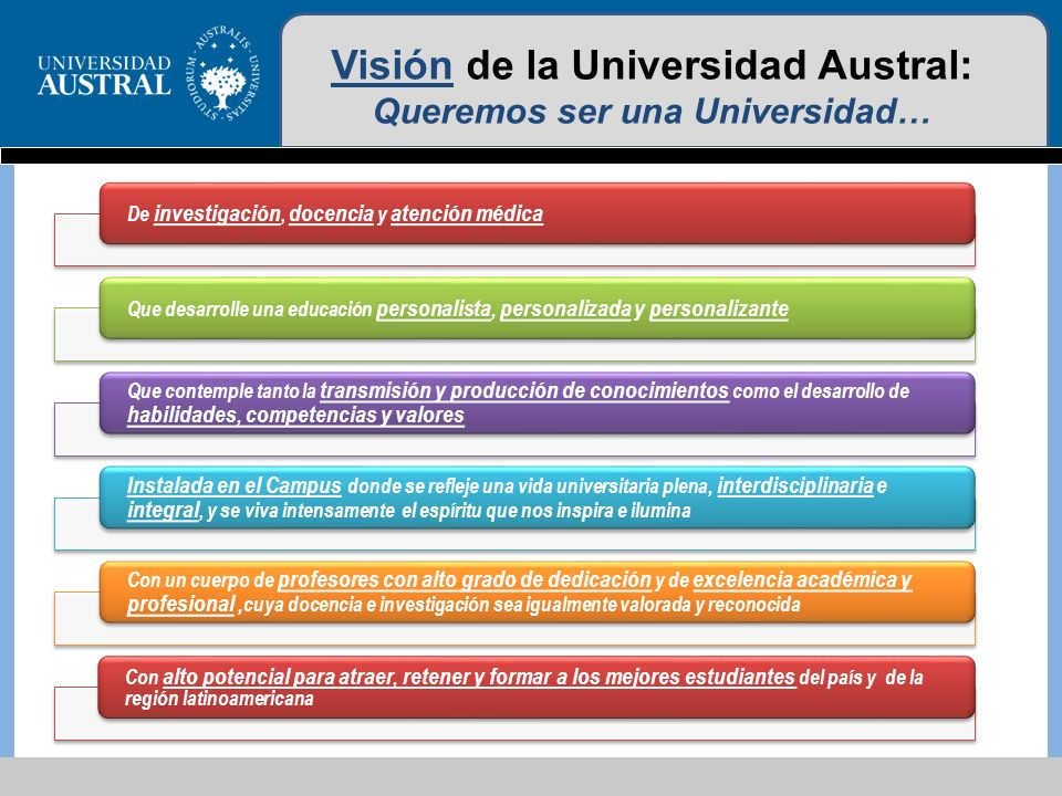 Visión de la Universidad Austral: Queremos ser una Universidad…