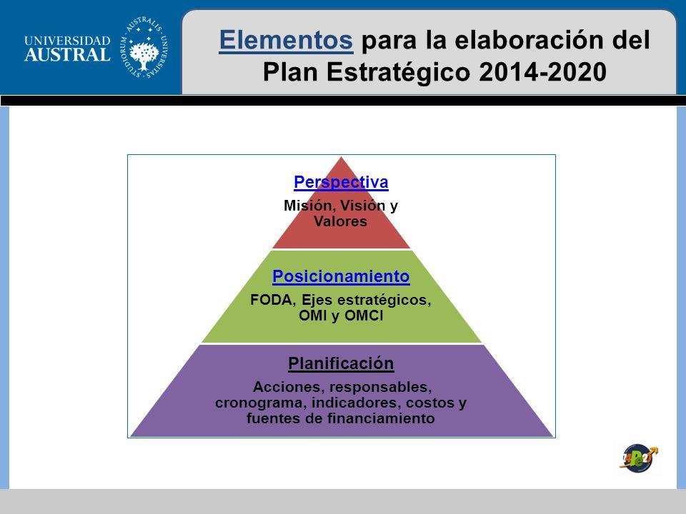 Elementos para la elaboración del Plan Estratégico 2014-2020