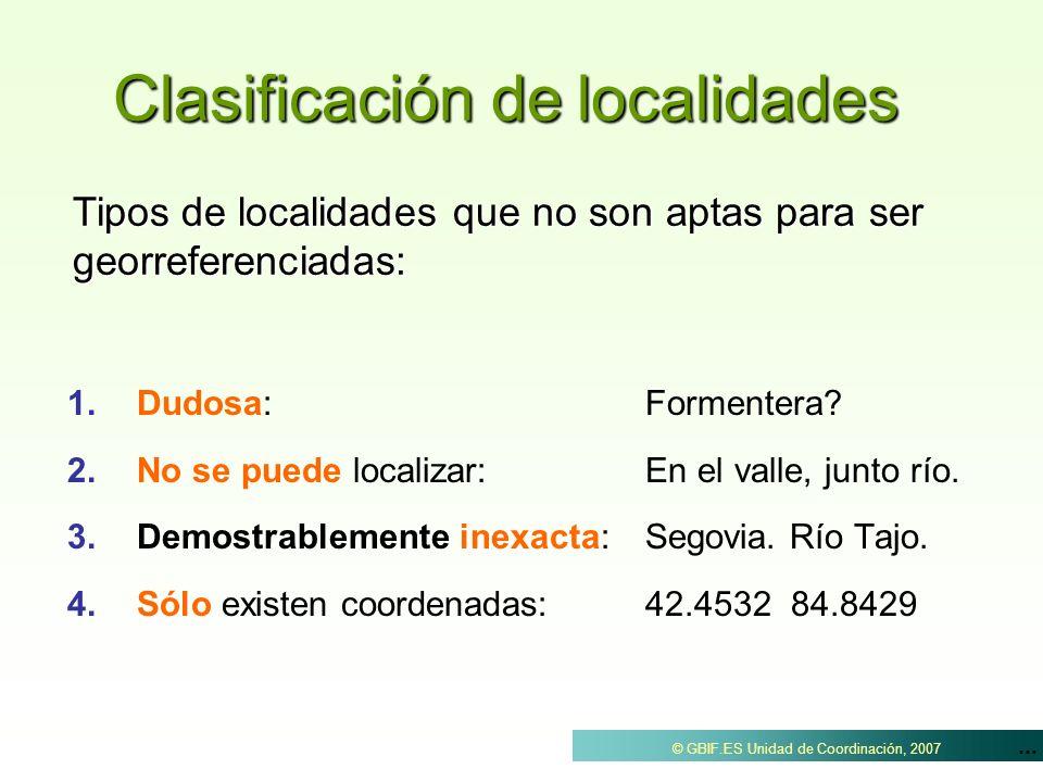 Clasificación de localidades