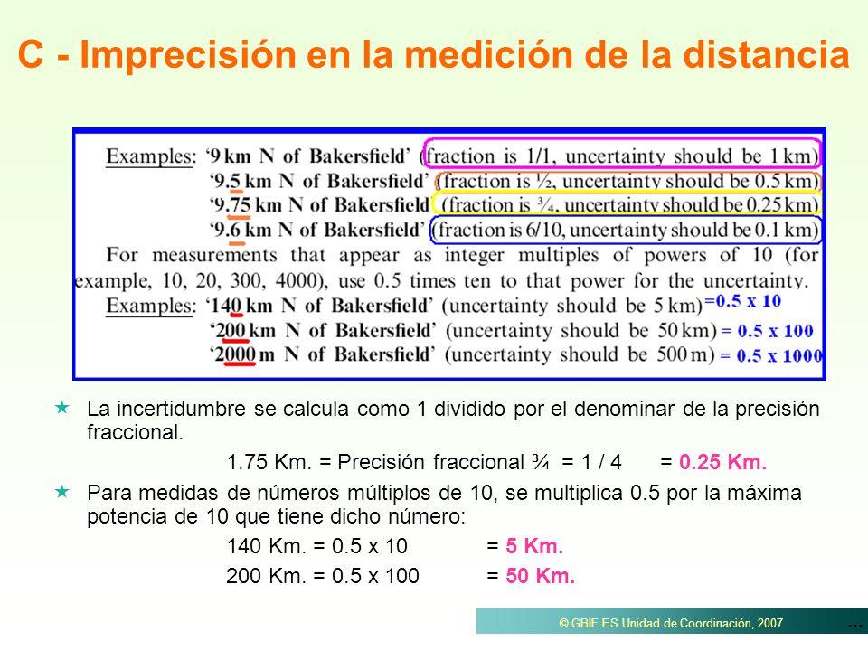 C - Imprecisión en la medición de la distancia