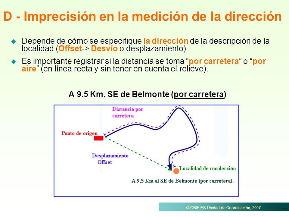 D - Imprecisión en la medición de la dirección