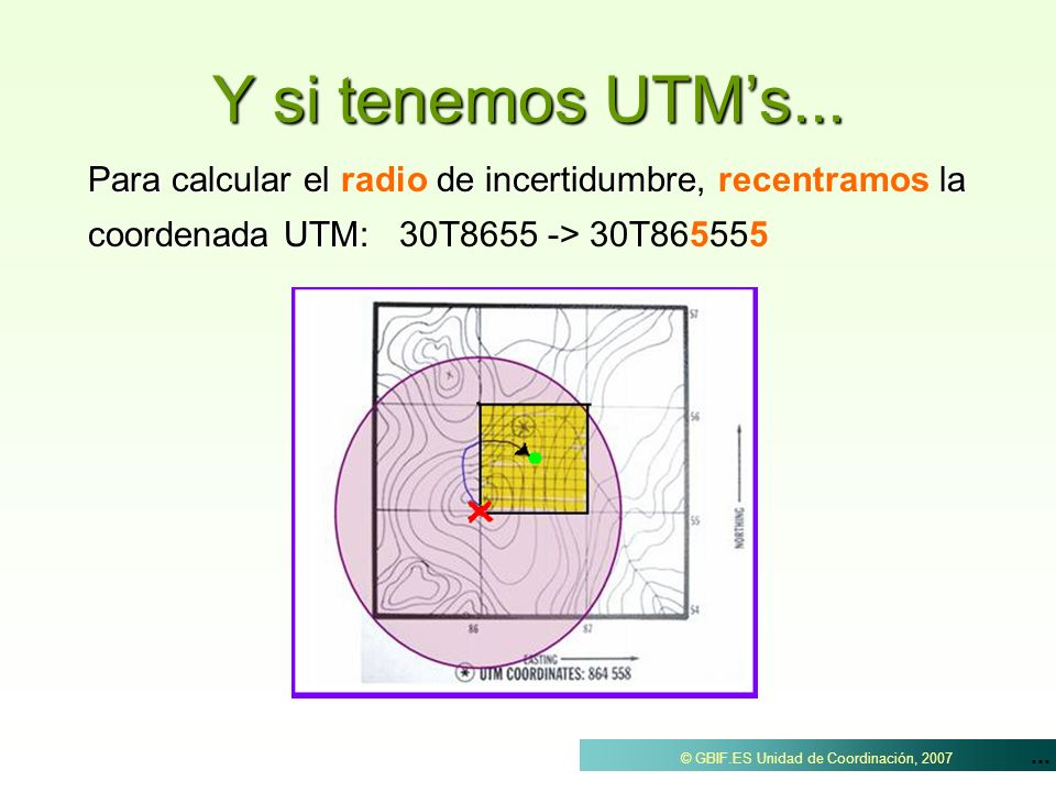 Y si tenemos UTM's...Para calcular el radio de incertidumbre, recentramos la coordenada UTM: 30T8655 -> 30T865555.