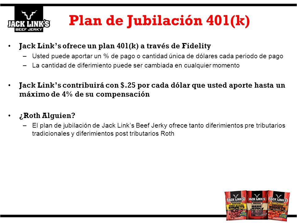 Plan de Jubilación 401(k) Jack Link's ofrece un plan 401(k) a través de Fidelity.