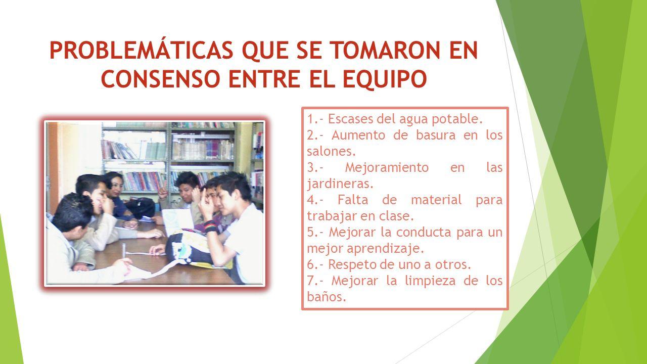PROBLEMÁTICAS QUE SE TOMARON EN CONSENSO ENTRE EL EQUIPO