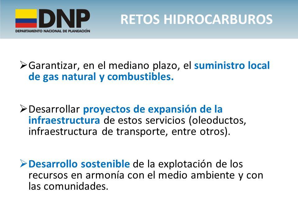 Retos hidrocarburos Garantizar, en el mediano plazo, el suministro local de gas natural y combustibles.