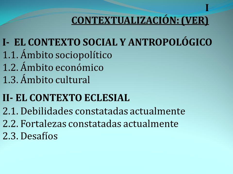 I CONTEXTUALIZACIÓN: (VER) I- EL CONTEXTO SOCIAL Y ANTROPOLÓGICO. 1.1. Ámbito sociopolítico. 1.2. Ámbito económico.