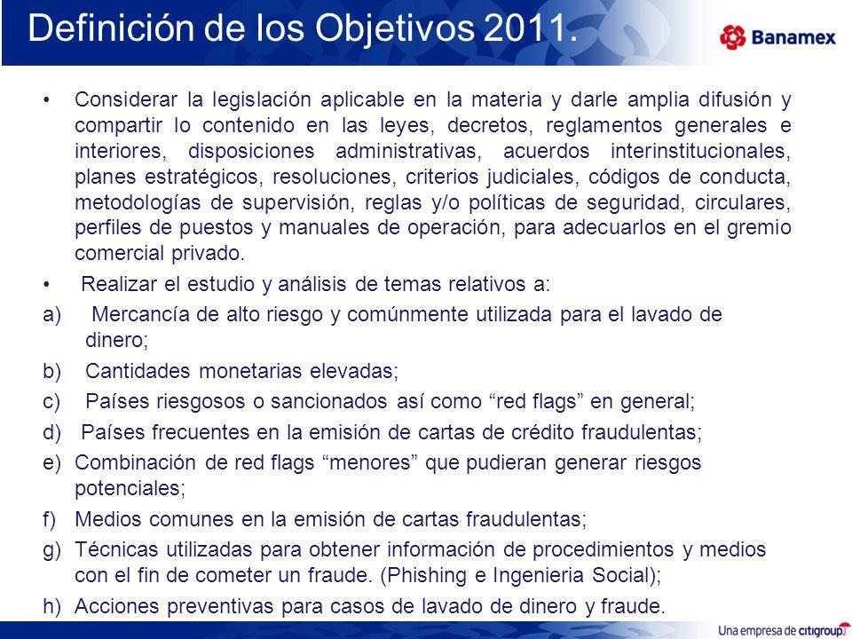 Definición de los Objetivos 2011.