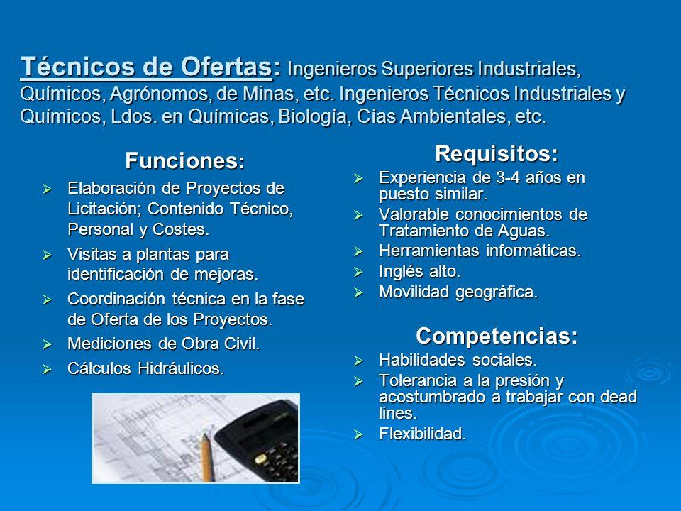 Técnicos de Ofertas: Ingenieros Superiores Industriales, Químicos, Agrónomos, de Minas, etc. Ingenieros Técnicos Industriales y Químicos, Ldos. en Químicas, Biología, Cías Ambientales, etc.