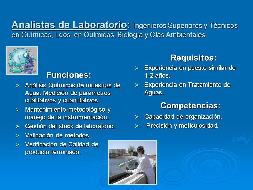Analistas de Laboratorio: Ingenieros Superiores y Técnicos en Químicas, Ldos. en Químicas, Biología y Cías Ambientales.