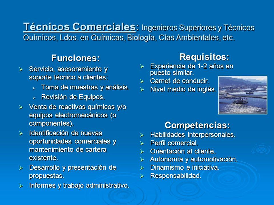 Técnicos Comerciales: Ingenieros Superiores y Técnicos Químicos, Ldos