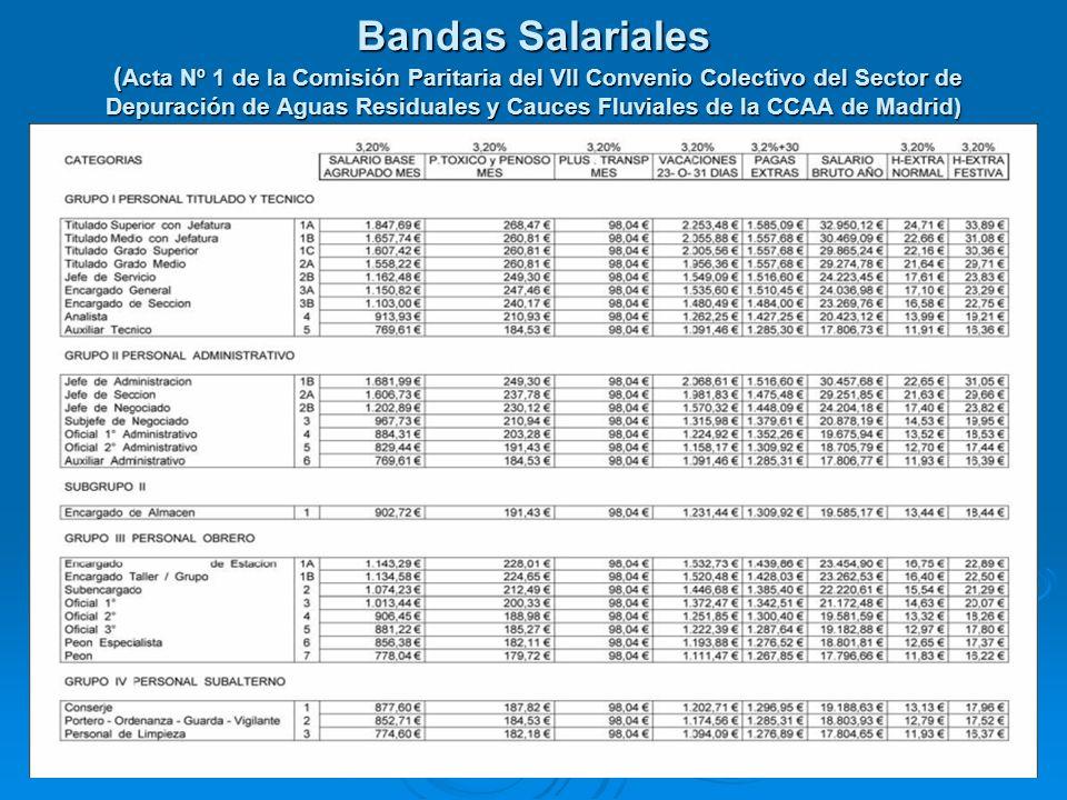 Bandas Salariales (Acta Nº 1 de la Comisión Paritaria del VII Convenio Colectivo del Sector de Depuración de Aguas Residuales y Cauces Fluviales de la CCAA de Madrid)