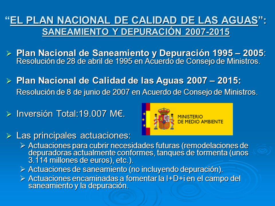 EL PLAN NACIONAL DE CALIDAD DE LAS AGUAS : SANEAMIENTO Y DEPURACIÓN 2007-2015