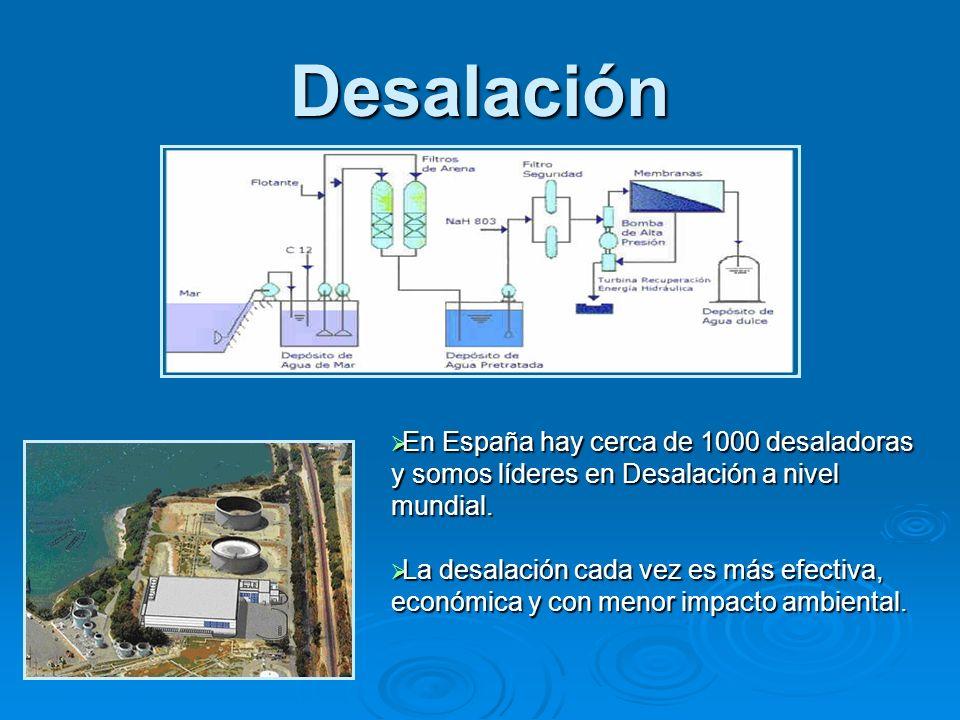 Desalación En España hay cerca de 1000 desaladoras y somos líderes en Desalación a nivel mundial.