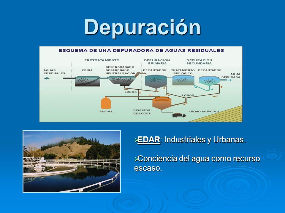 Depuración EDAR: Industriales y Urbanas.