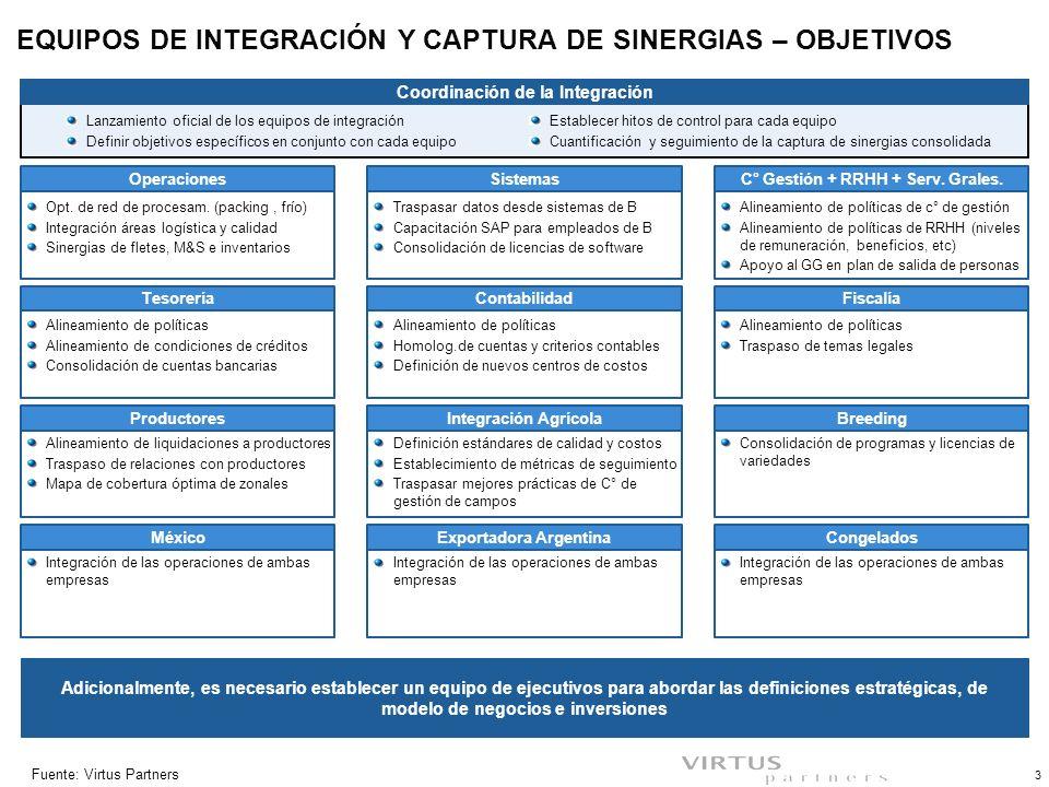 PLAN DE TRABAJO GENERAL EQUIPOS DE INTEGRACIÓN Y CAPTURA DE SINERGIAS