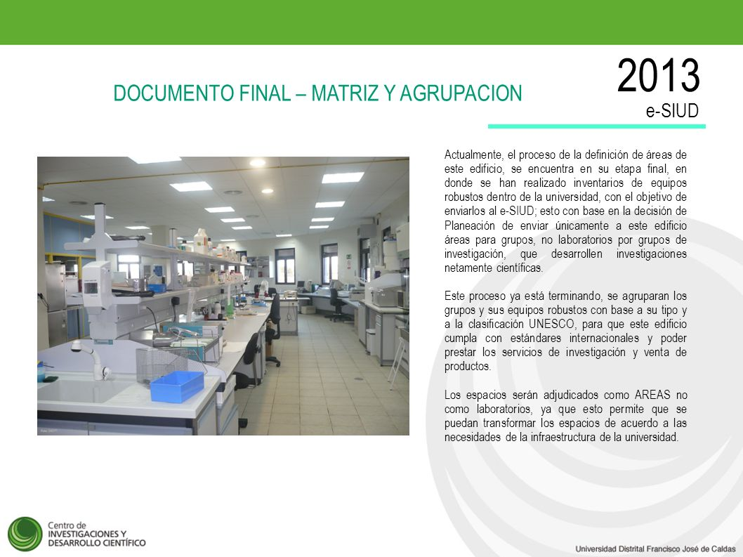 2013 DOCUMENTO FINAL – MATRIZ Y AGRUPACION e-SIUD