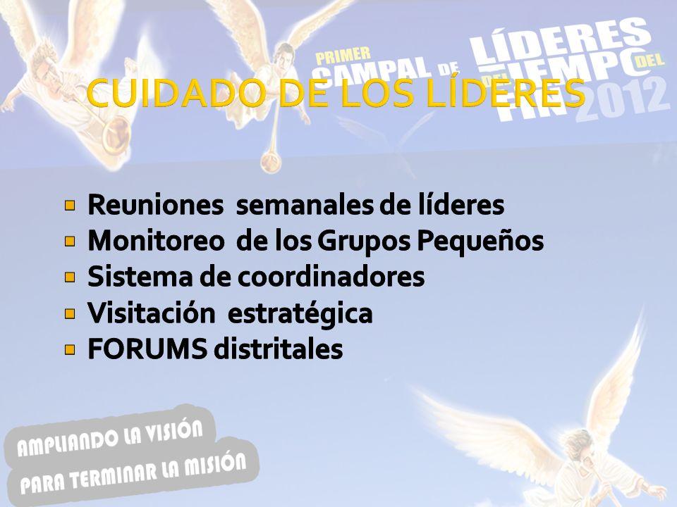 CUIDADO DE LOS LÍDERES Reuniones semanales de líderes