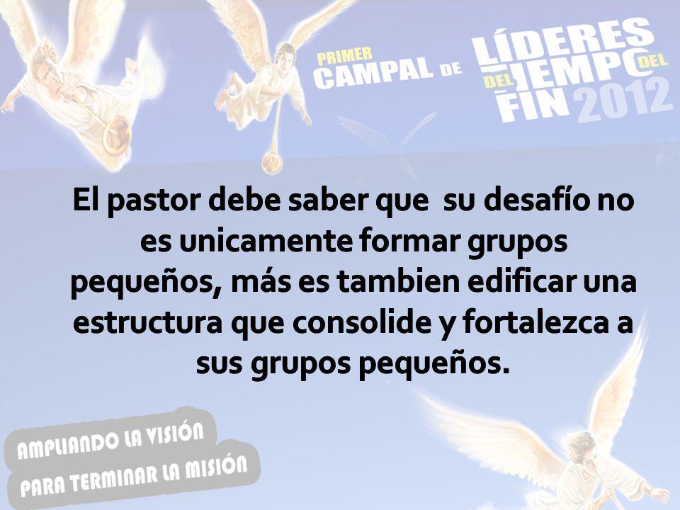 El pastor debe saber que su desafío no es unicamente formar grupos pequeños, más es tambien edificar una estructura que consolide y fortalezca a sus grupos pequeños.